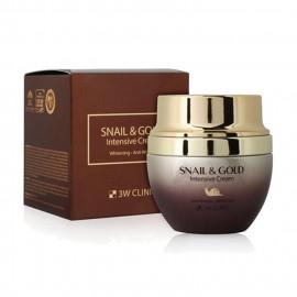Інтенсивний крем для обличчя з муцином равлика і колоїдним золотом 3W Clinic Snail & Gold Intensive Cream  50 мл.