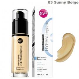 Гіпоалергенний тональний флюід 03  Bell Cosmetics HypoAllergenic Mat & Soft Make-Up  30 грам